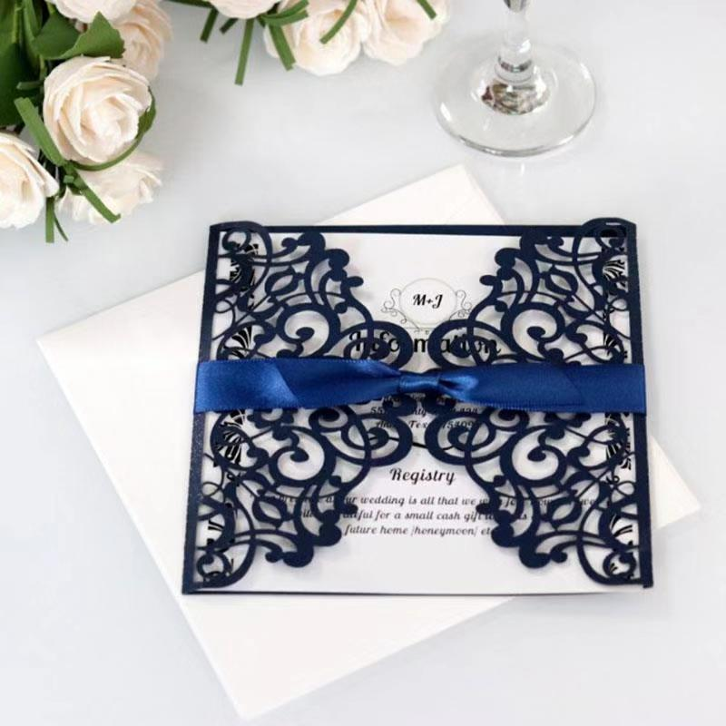 Navy Blue Wedding Invitations Laser Cut Wedding Invitation Card Square Greeting Cards with Ribbon Festive Party Supplies in Cards Invitations from Home Garden