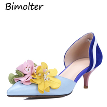 Bimolter New Beautiful Flower design genuine leather women pumps fashion sexy high heel shoes woman blue height Shoes FB045