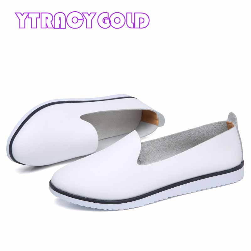 цена на YTracyGold Leather Women Casual Shoes Soft Tenis Flats Women Loafers Zapatillas Mujer Ladies Shoes Female Sneakers High Quality