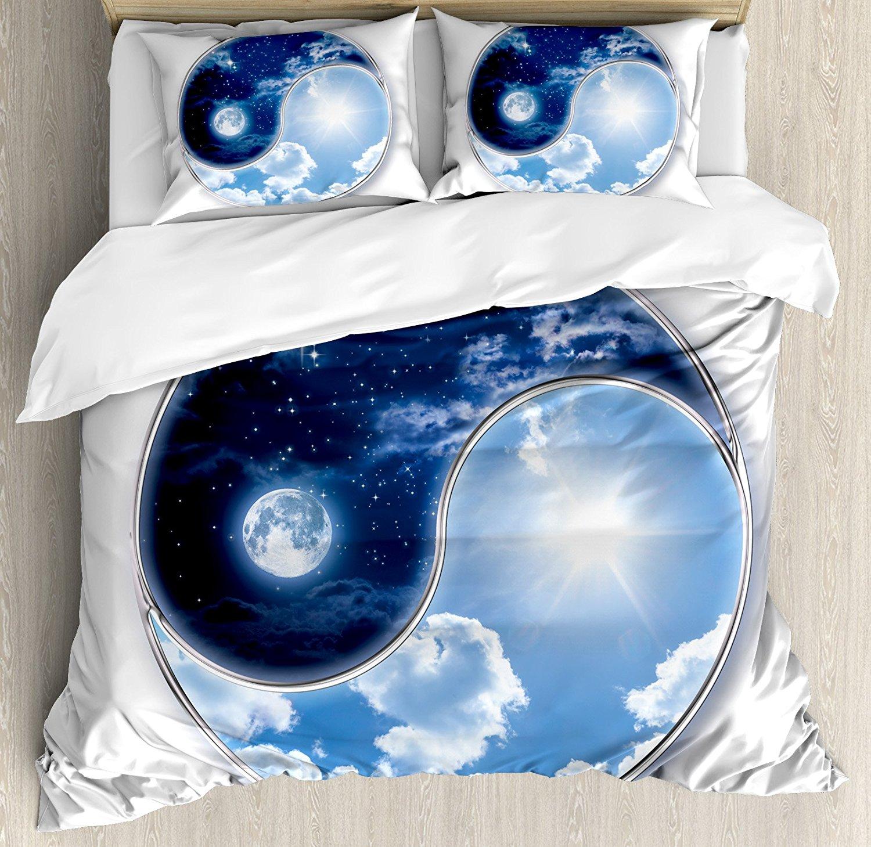 Espace Couette Cover Set Yin Yang Monde avec Lune et Soleil L'harmonie de l'univers Art Impression, décoratif 4 Pièce Ensemble de Literie