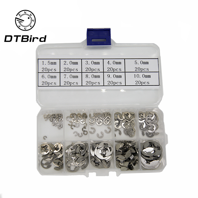 200PCS/Lot 304 Stainless Steel E Clip washer Assortment Kit Circlip retaining ring for shaft fastener M1.5~M10 Quality Kit