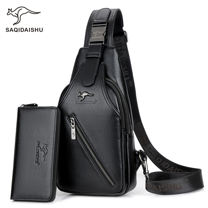 New Men's Fashion Chest Bags Leisure Travel Men Shoulder Strap Crossbody Bag Leather Chest Pack Back Bag Messenger Bags famous brand men chest bags theftproof open fashion leather travel crossbody bag man messenger bag crazy horse leather bag chest
