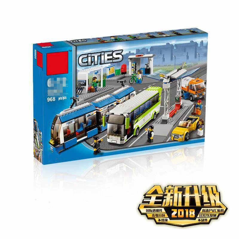 Blocks the Compatible Legoings City Public Transport Station Set Toys Building Bricks Bus Train Car Christmas gift for boy bith