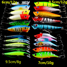 New Set Mixed 21pcs/Lot Fishging Lures Minnow/VIB Lure and Popper Bait Artificia