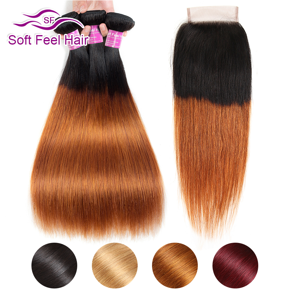 4 Colors Ombre Brazilian Straight Hair Weave Bundles With Closure Ombre Remy Human Hair 3/4 Bundles With Closure Soft Feel Hair