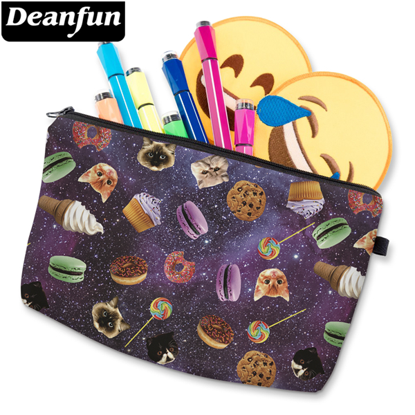 Deanfun Women Cosmetic Bags 3D Printed Space And Food Necessaries For Travelling Makeup Storage  50940