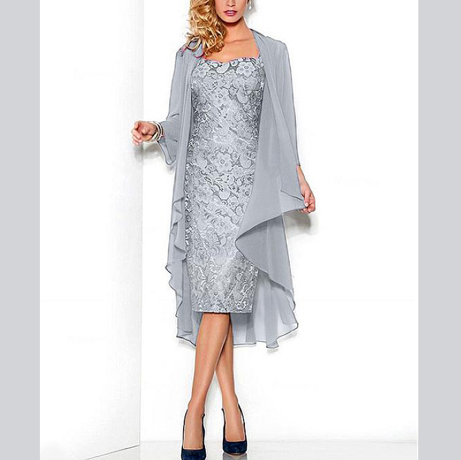 Gorgeous Cap Sleeves Scoop Sheath Lace With Jacket Knee-Length Women's Dresses Mother Of The Groom Dresses For Wedding