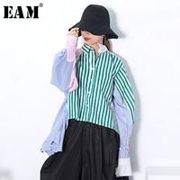 [EAM] 2018 New Autumn winter Lapel Long Sleeve Green Striped Split Joint Loose Bandage Off Shoulder T shirt Women Fashion N99