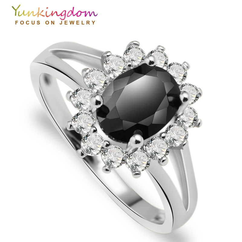Classic wedding rings for women fashion flower black cubic ...