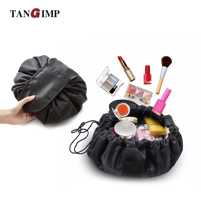 US $11 05 |TANGIMP Drawstring Lazy Cosmetic Bags Organizer Case Women  Makeup Large Ladies Toiletry Make Up Magic Pouch Bag Travel Black-in  Cosmetic