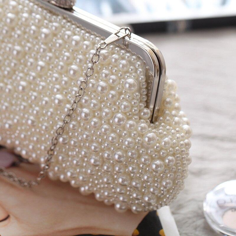 Parti Main Hasp Rabat Mode Soirée Perle Femelle Mariage Solide Beige À Cristal Femmes Blanc De Sac Beige Perles white Bandoulière D'embrayage 4410qwZ