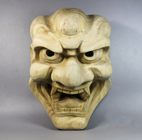 Wood masks Lion face Japanese Noh Mask budas statues folk craft Personal Wall decoration