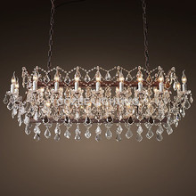 Vintage Black Metal Candle Chandeliers Lighting Modern Crystal Chandelier Hanging Light for Home Living and Dining Room Decor(China)