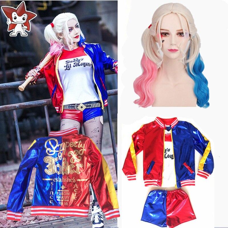 Niñas niños Harley Quinn traje Cosplay JOKER Suicide Squad Halloween Purim chaqueta Chamarras De Batman