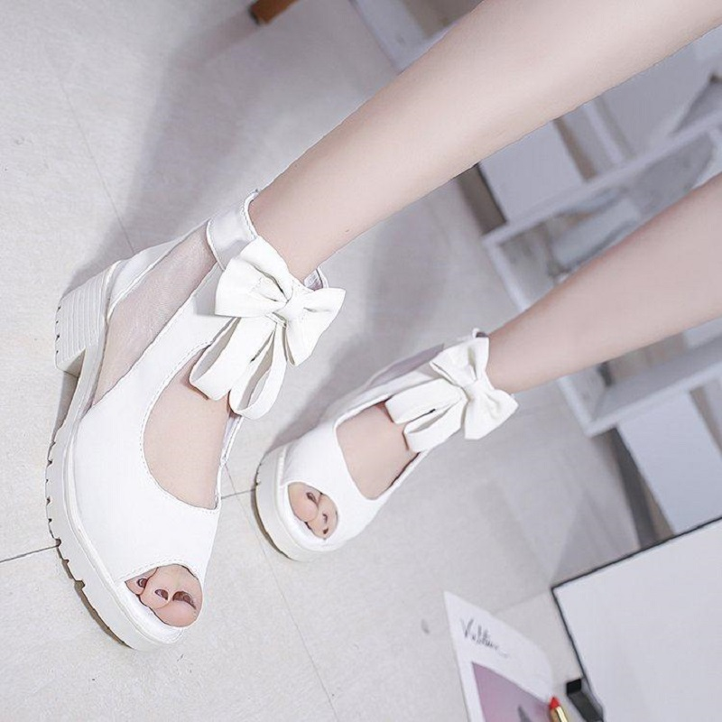 35-40 Size Summer Women Shoes Medheel Height Open Toe Women Sandals Fashion Mesh Sandals Peep-toe Bowknot Lady Summer Shoes