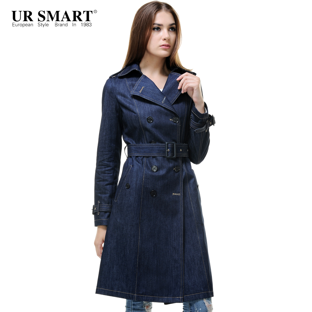 573dd9490 URSMART European and American big double breasted long coat England ...
