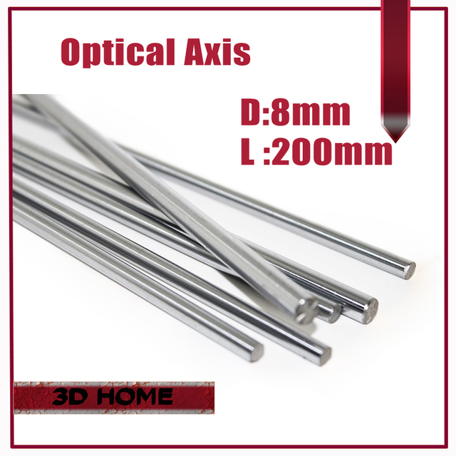 1pcs OD 8mm x 200mm Cylinder Liner Rail Linear Shaft Optical Axis chrome For 3D Printer Accessory for CNC