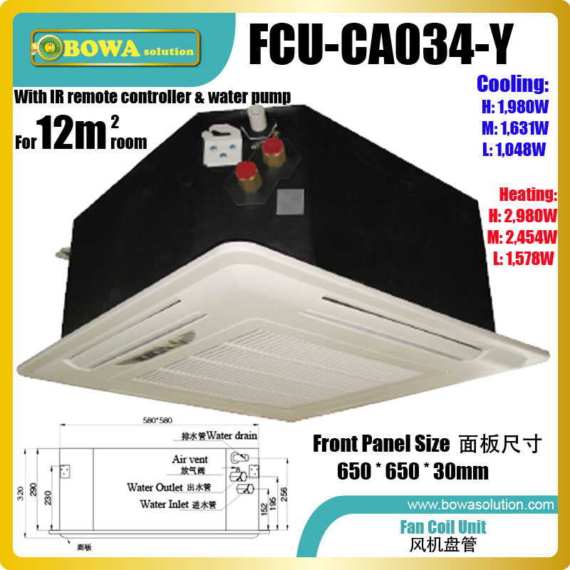 12m2 room ceiling cassette fan coil unit (FCU) is working together with 3 in 1 heat pump air conditioner to get cool or heat