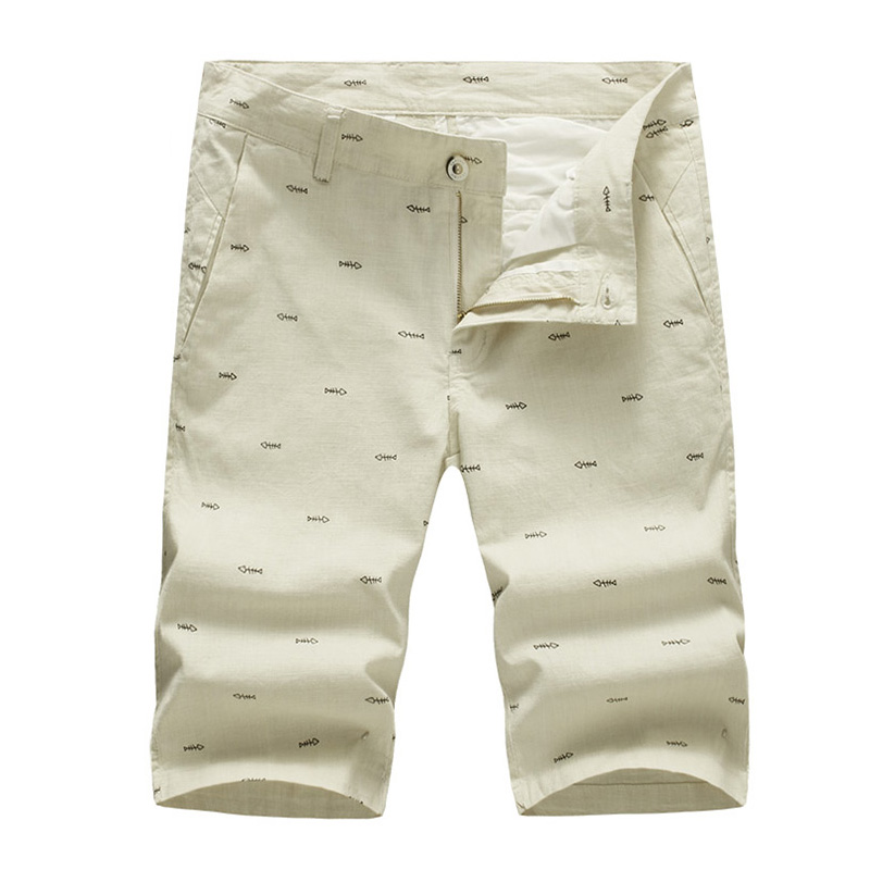 2017 New Fashion Mens Linen Shorts Summer Men Shorts Homme Stylish Print Casual Beach Shorts Men Short Pants 28-40 AYG264