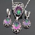 Enorme Arco Iris Multicolor Creado Topacio de Color Plata Sistemas de La Joyería Para Las Mujeres Pendientes/Collar/Pendiente/Anillo de Regalo caja