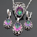 Huge Multicolor Rainbow Created Topaz Silver Color Jewelry Sets For Women Earrings/Necklace/Pendant/Ring Free Gift Box