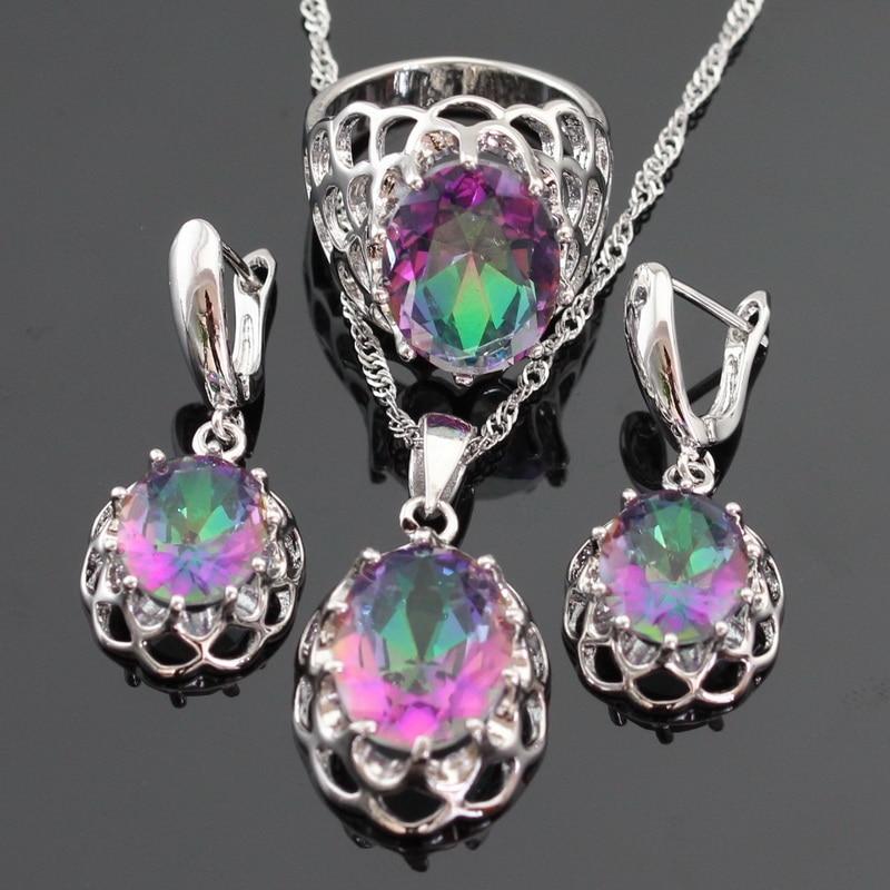 Ogromni višebojni dugi kubni cirkonij srebrne boje nakit setovi za - Modni nakit - Foto 2