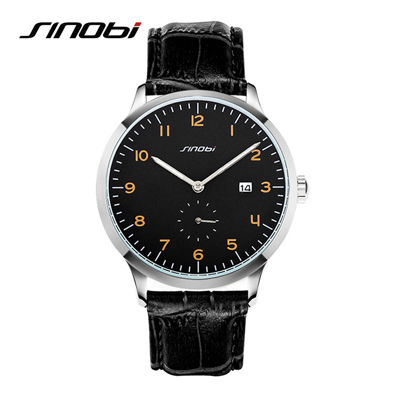 SINOBI Classic Men Wrist Watches Leather Watchband Top Luxury Brand Fashion Males Geneva Quartz Clock Relogios Homens Hours 2016 sinobi double quartz wristwatch for leather watchband men s golden fashion wrist watch brand males clock relojes hombre 2016 new