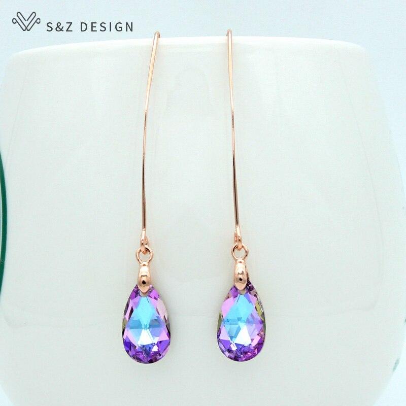S&Z New 585 Rose Gold Imitation Crystal Water Drop Dangle Earrings Long Ear Hook Japanese/Korean For Women Party Jewelry Gift