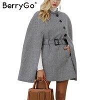 BerryGo Houndstooth Long Sleeve Winter Cape Coat Women Belt Outerwear Coats 2017 Autumn Casual Split Streetwear