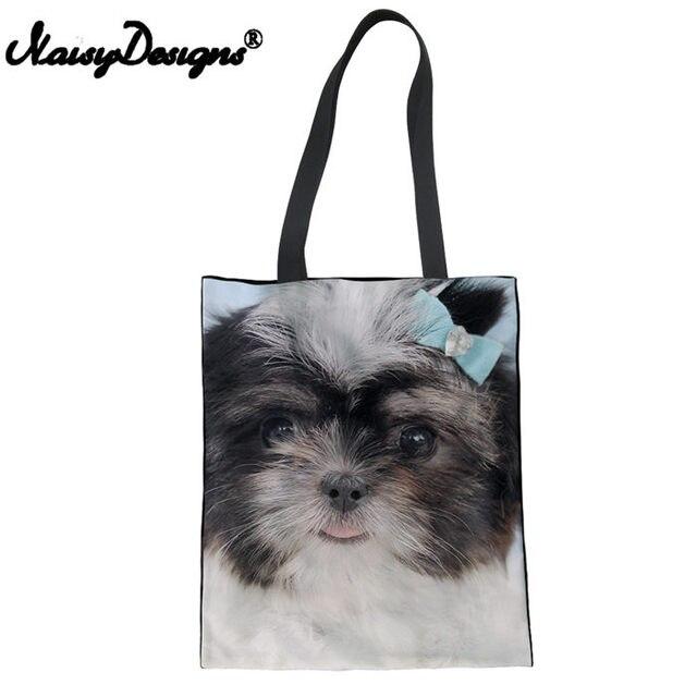 Semtomn Cotton Canvas Tote Bag Beige Shitzu Shih Tzu Dog Adorable Puppy Animal Beautiful Reusable Shoulder Grocery Shopping Bags Handbag Printed