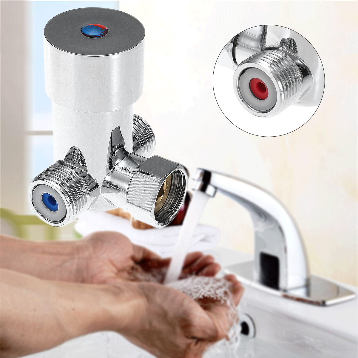 Freuer Faucets Temperature Mixing Valve For Touchless: Automatic Mixing Valve Hot Water Control Valve For Single