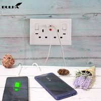 UK 13A Double Power Wall Socket 2 Gang Electrical Switched Socket With USB Plug Ports Quick Charger Outlet Port UK Plug