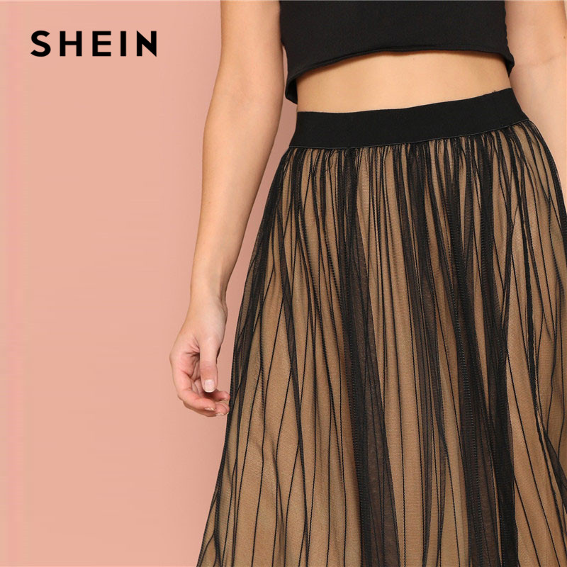 Image 5 - SHEIN Black Elastic Waist Striped Mesh Overlay Mid Waist Solid Maxi Skirt Lady Spring Casual A Line Sheer Pleated Midi Skirt-in Skirts from Women's Clothing