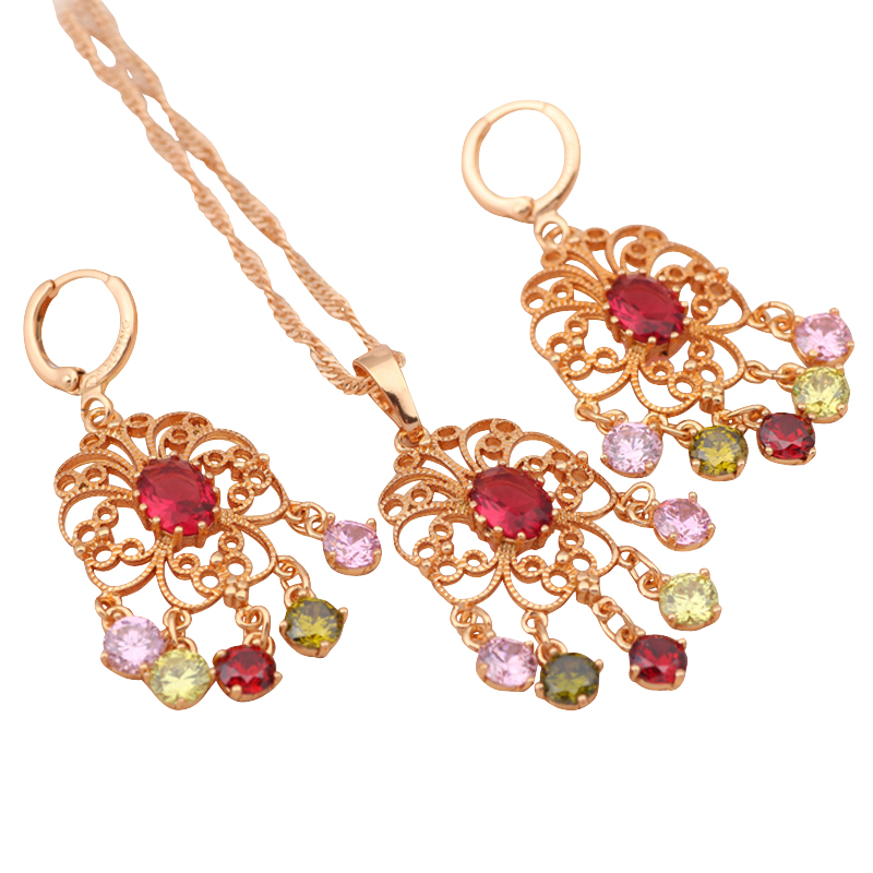 Royal style gold tone Necklaces Pendants Drop Earrings Wedding