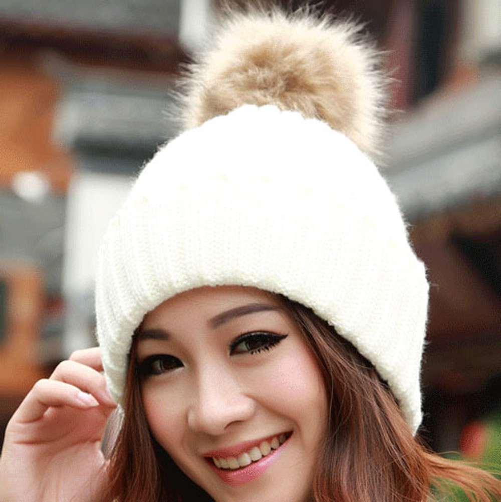 Otoño Invierno nuevo Casual gorros mujeres tejer Crochet sombrero ...
