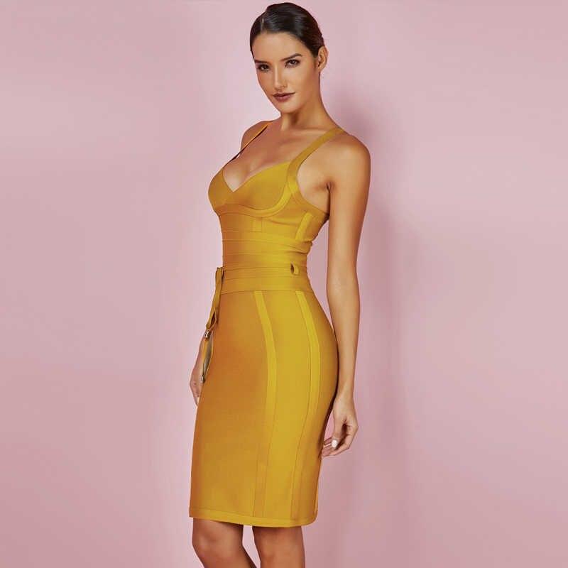 Geyik bayan 2019 bandaj elbise yeni gelenler yaz sarı Bodycon elbise V boyun spagetti kayışı sonbahar bandaj elbise parti kadınlar