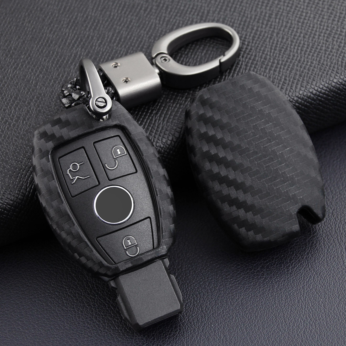 Carbon Fiber Look Key Case Cover Fob For Mercedes-Benz A B C E S CLA GLA GLC GLE W176 W204 W212 X253 W166 X204 Accessories image