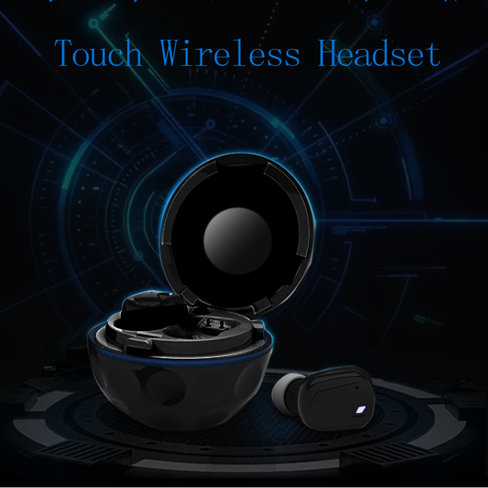 Black White Bluetooth Earphone For Mobile Phone Mp3 Player Hifi Stereo Noise Cancelling In-Ear Hand Free Mic Wireless Charging