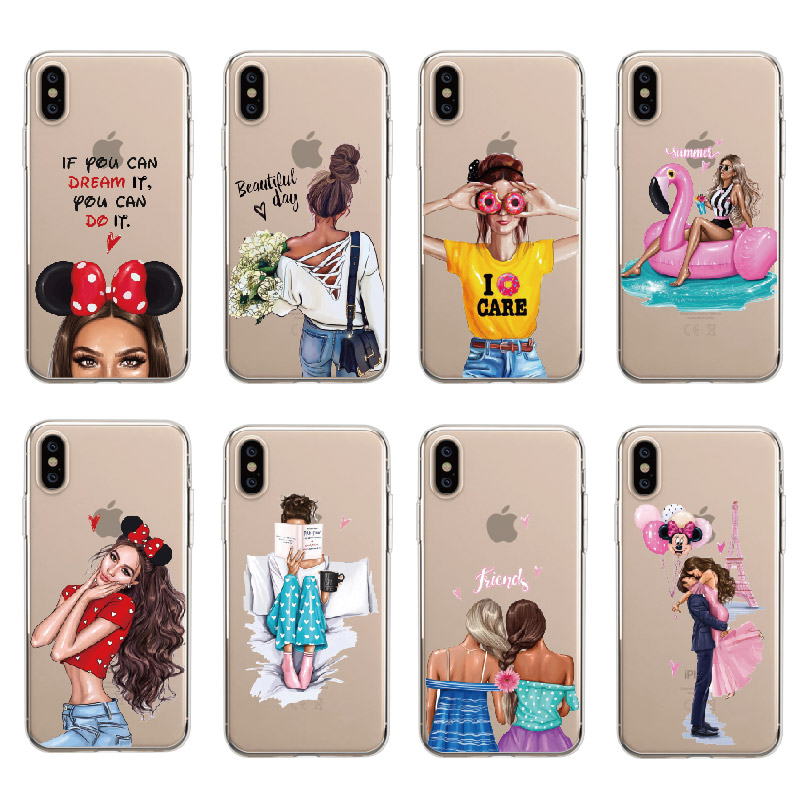 Fashion Cartoon Stars Sky Moon Fruit Stripe Print Coque Slim Hard Phone Cases For Iphone X 8 7 7plus 5 5s 6 6s 6plus Cute Cover Evident Effect Half-wrapped Case