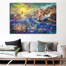 Thomas Kinkade The Little Mermaid And Tramp Canvas Painting Print Living Room Home Decor Modern Wall Art Oil Poster HD