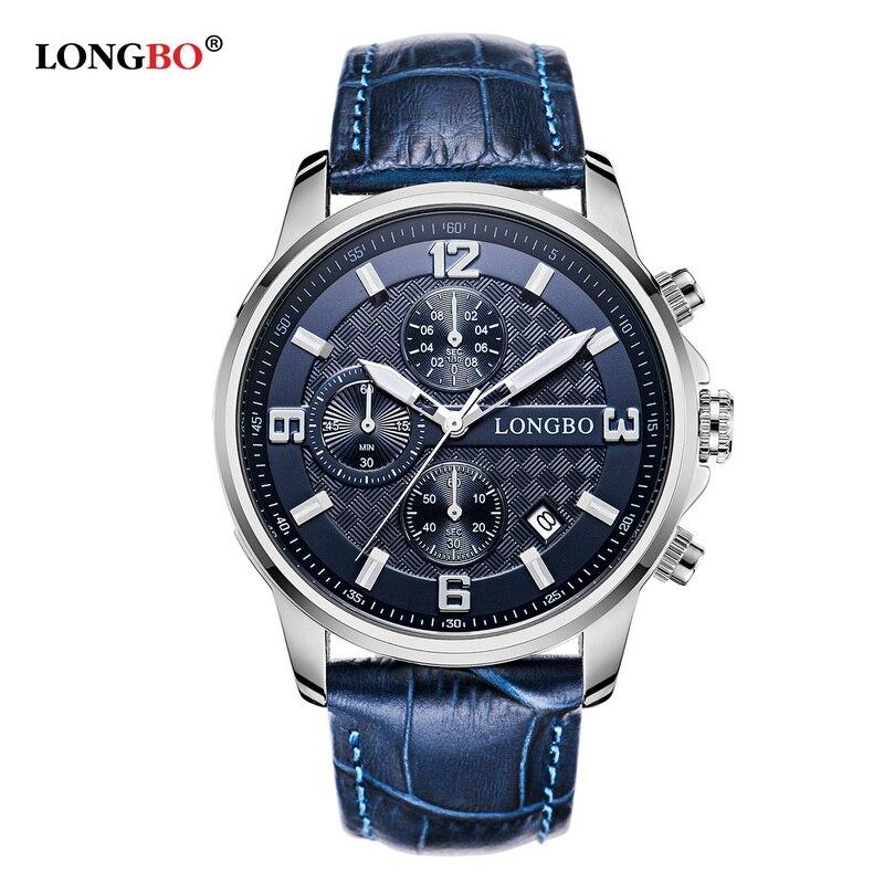 LONGBO Watches Men Top Luxury Quartz-Watches Sport Men's Leather Watches Waterproof Relogio Heren Hodinky
