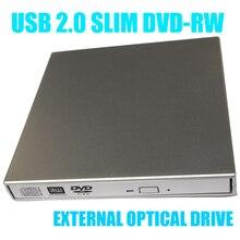 Top quality SATA chip USB 2.0 black Portable External Slim DVD-RW/CD-RW Burner Record Optical Drive CD DVD Combo Writer