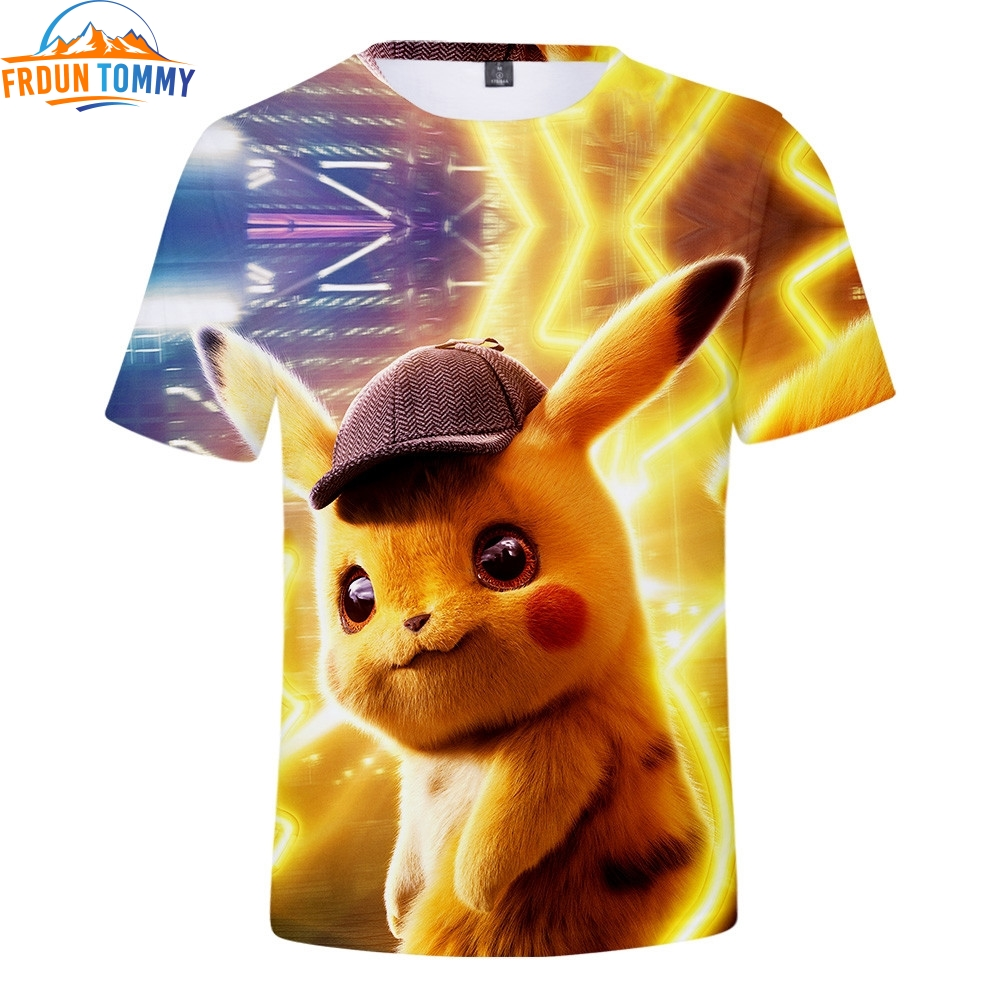 2019 Pokemon <font><b>Detective</b></font> <font><b>Pikachu</b></font> 3D Print T-shirts Women/Men Fashion Summer Short Sleeve <font><b>Tshirt</b></font> Casual Cool Streetwear T shirts image