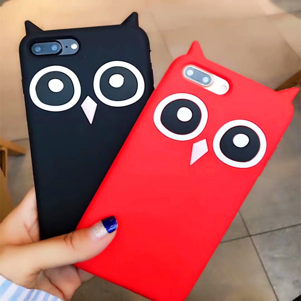 New 3D Cute Cartoon Animal Owl Soft Silicone Phone Case For Apple iPhone X 7 7plus 6 6s 6plus 5 5s se Back Cover Capas Housing