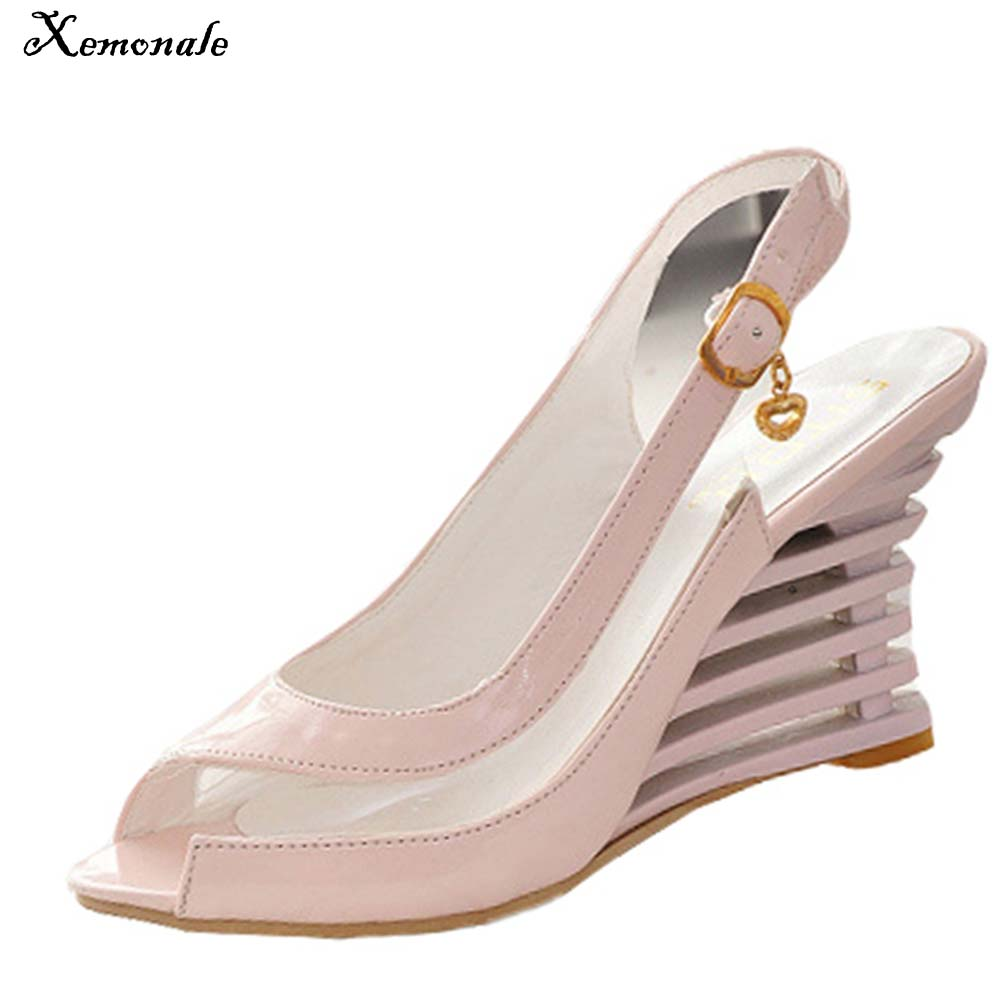 Xemonale Women Casual High heels New summer Wedges High heeled shose Thick bottom sexy Peep Toe Sandals