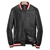 Крутая мужская куртка из натуральной кожи с черепами Повседневная кожаная верхняя одежда для молодых мужчин Модная Кожаная обычная черная