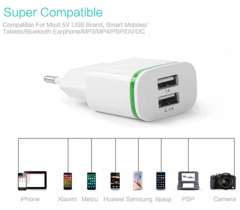 5V 2.1A Travel USB Charger Adapter EU Plug Mobile Phone for ZTE V5 pro N939St V5 3 V993W Blade HN L2 +Free usb type C cable