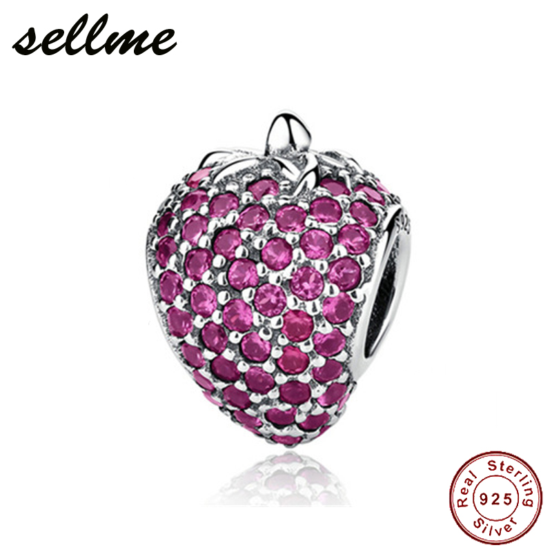 100% Pure 925 Sterling Silver Charm Full CZ Strawberry Bead fit European Bracelet DIY Silver Jewelry