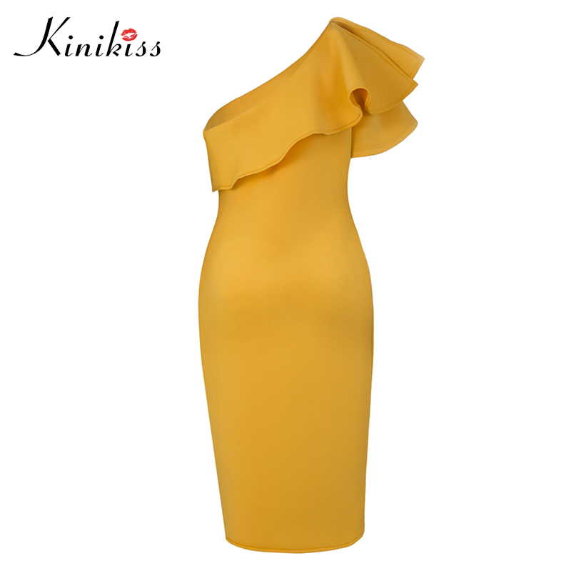 Kinikiss Women One Shoulder Party Dress Oblique Collar Elegant Yellow Purple Ruffle Dress Ladies Sexy Cocktail Bodycon Dress