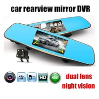 New 5 Inch Car DVR Dual Lens Rearview Mirror Car Camera Recorder Video DVR With Two